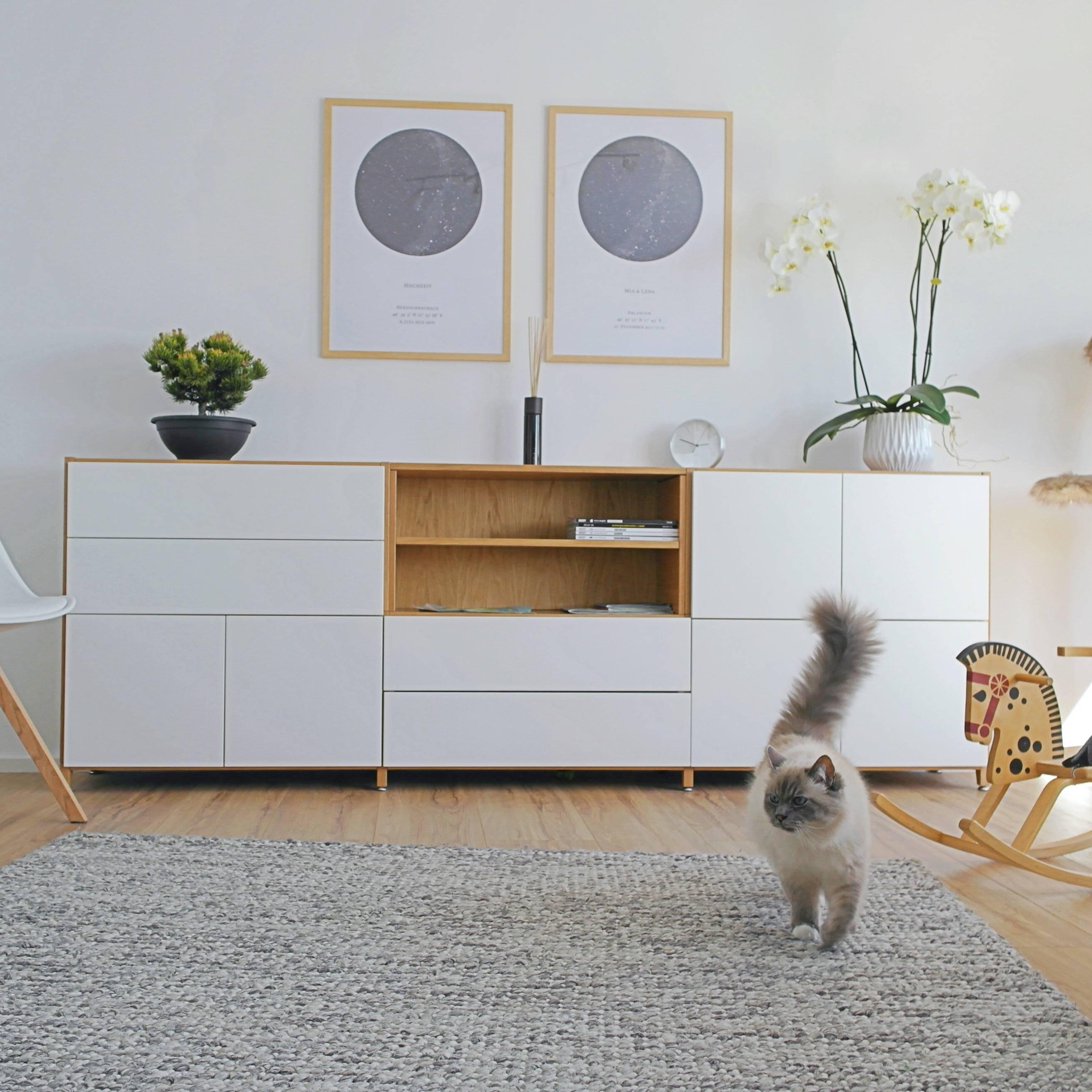 Pazls One Sideboard Eiche Weiß individuell konfiguriert