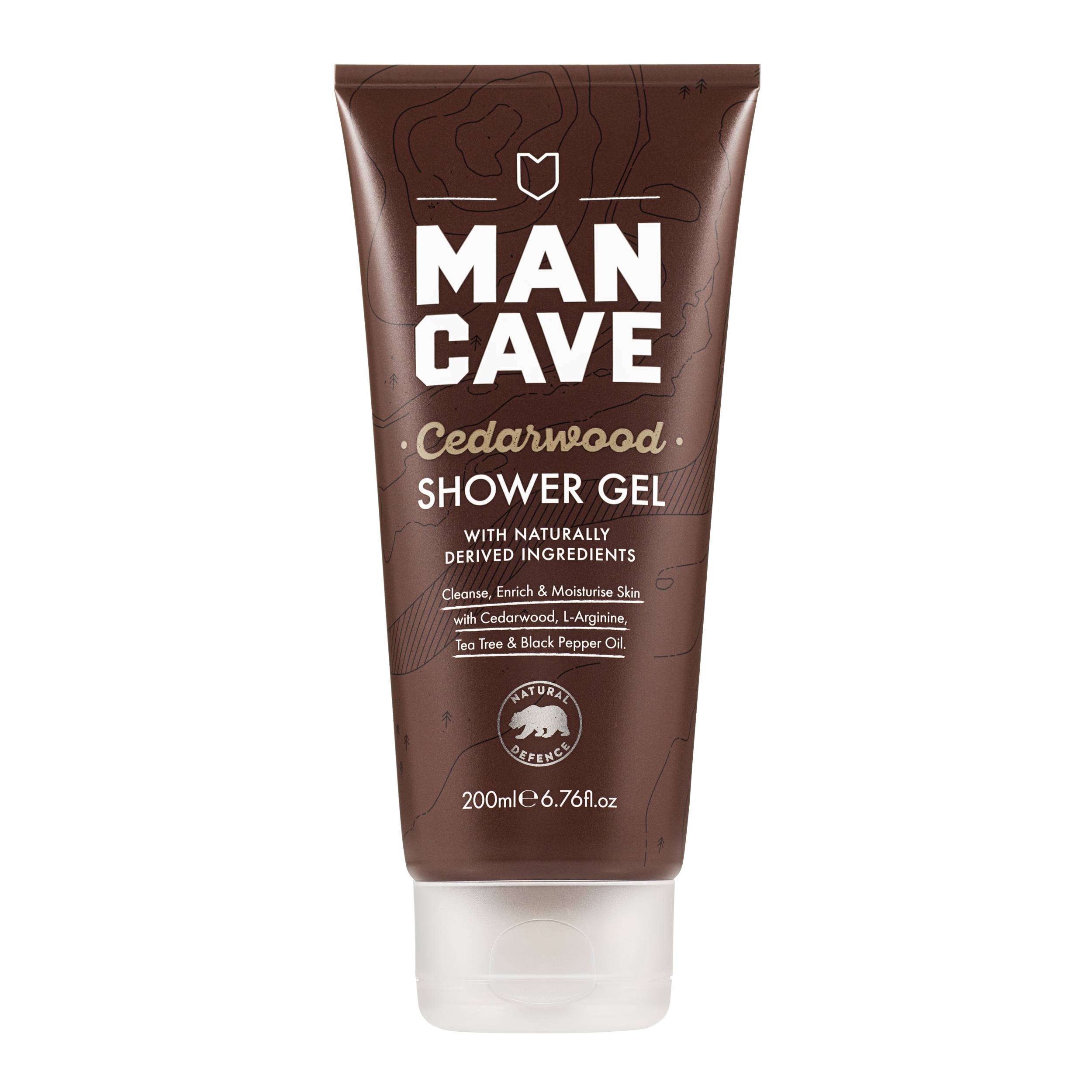 The ManCave cedarwood shower gel  100% recyclable brown tube. Cruelty free certified and vegan friendly.