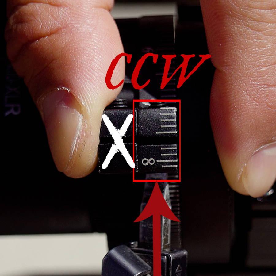 Loosen Set Screws on Calibration Ring CCW turn