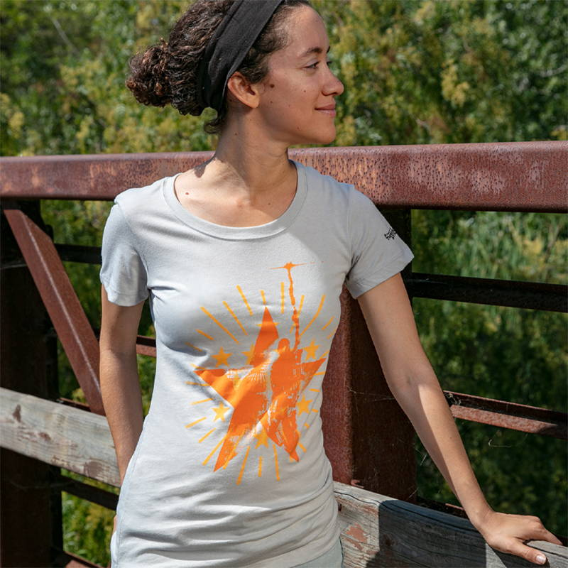 Photo of a female model wearing The Division 2 Signal Badge Tee
