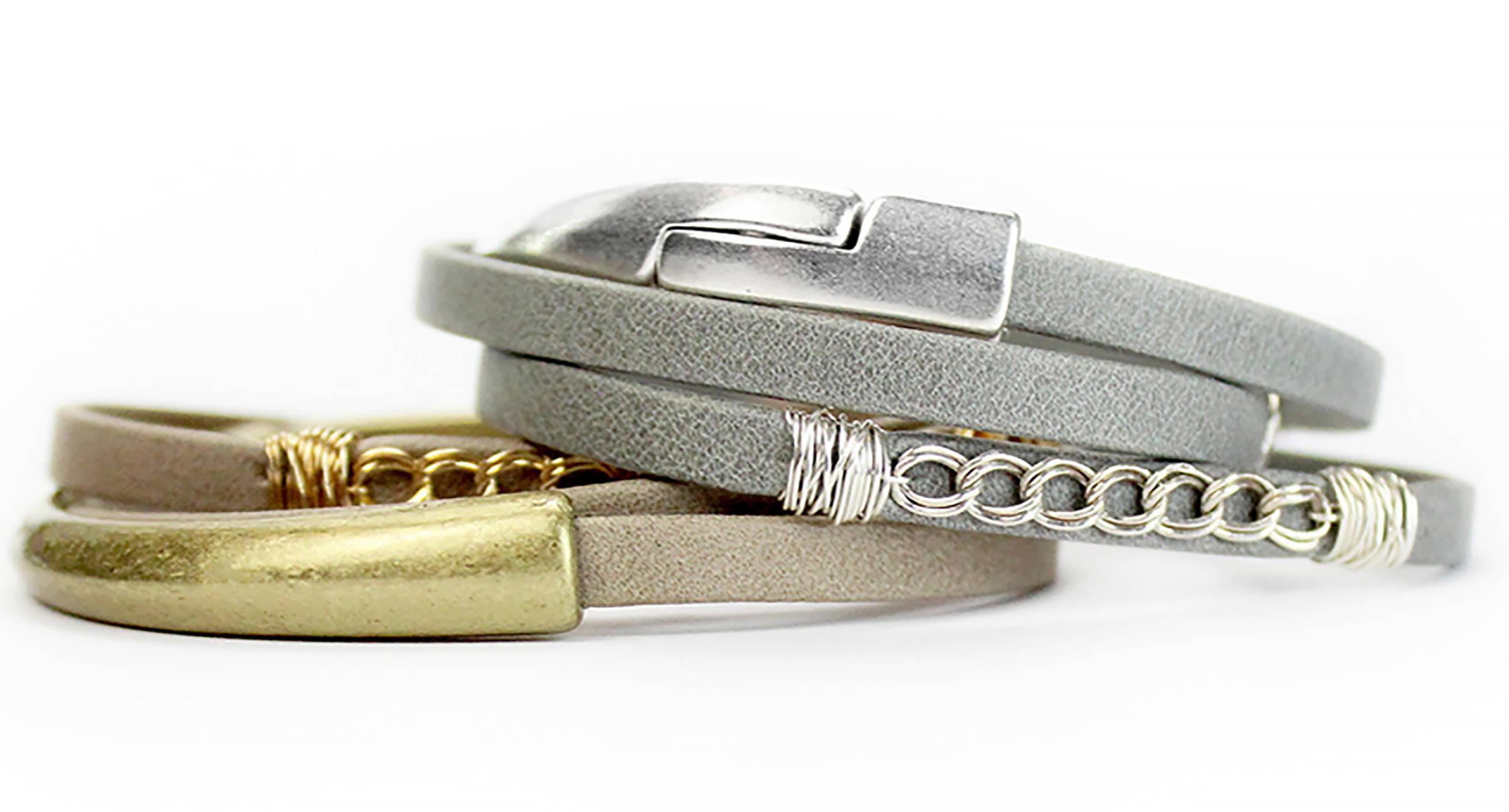 Curb Leather Triple Wrap Magnetic Bracelets
