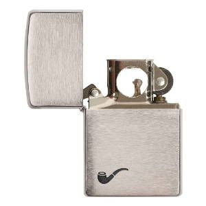 Front of Pipe lighter, with its lid open, showing the pipe lighter insert
