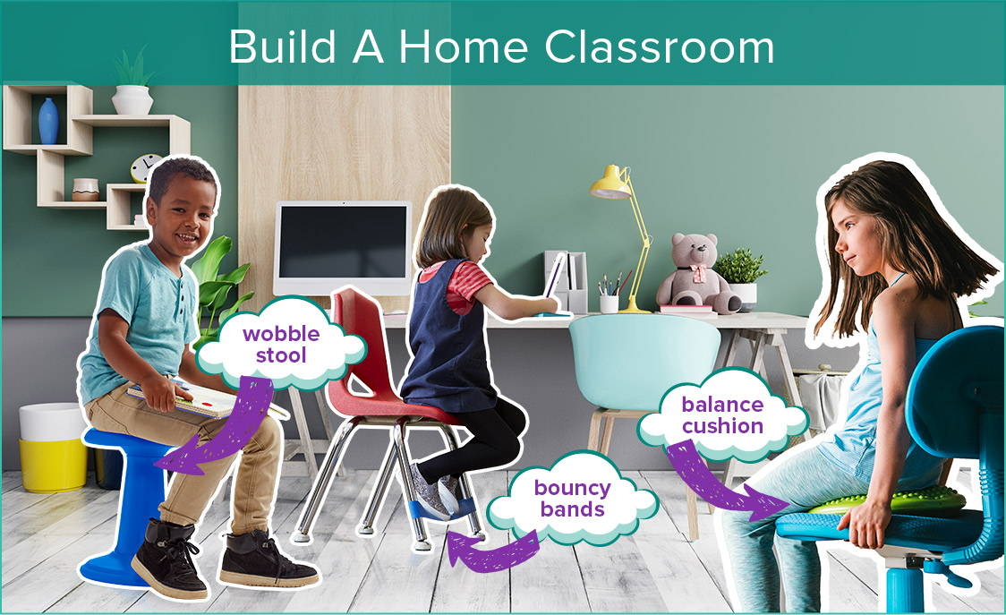 kids using active sitting in home office space