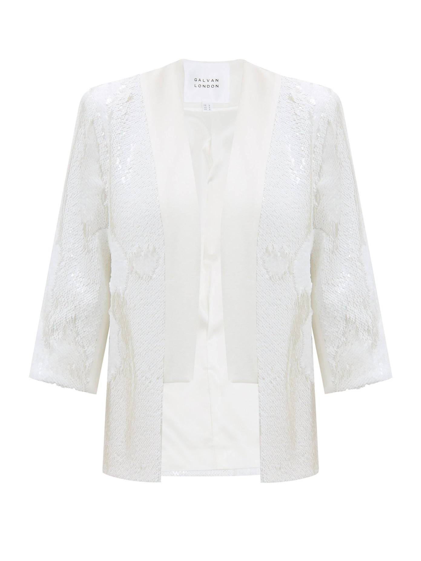 Galvan London Bridal Sequin White Jacket