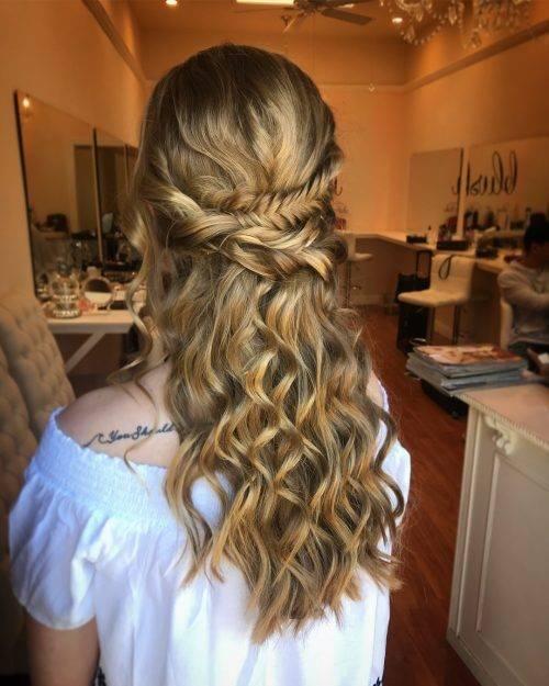 Fishtail Braid Curled Hair