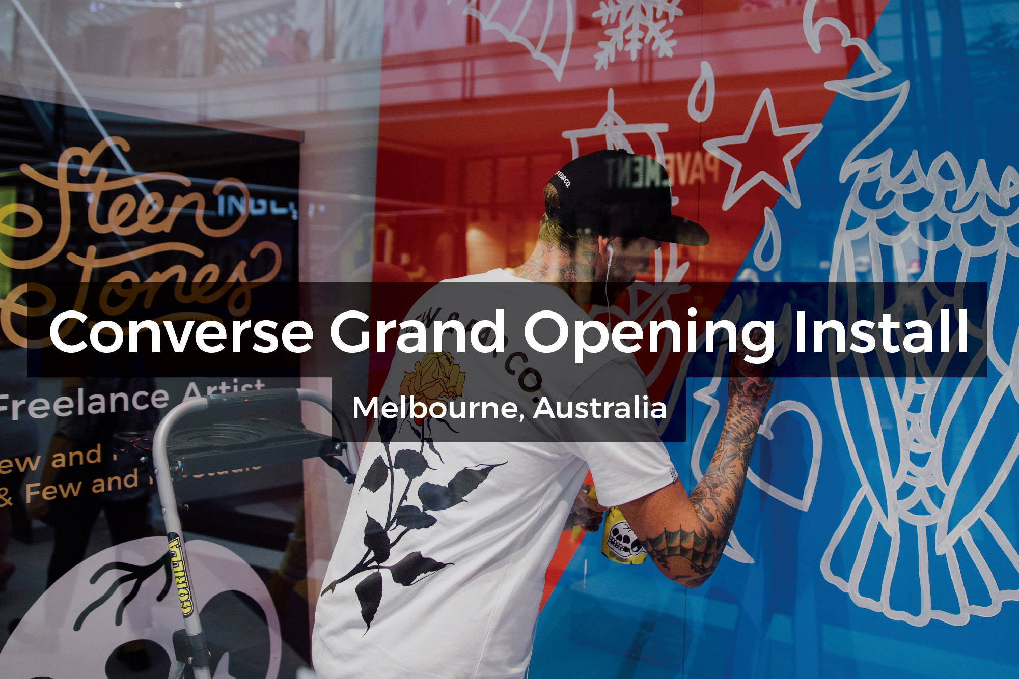 Converse Grand Opening mural installation in Melbourne, Australia by Steen Jones