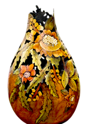 Gourd art by Janet Holloran-Bratcher