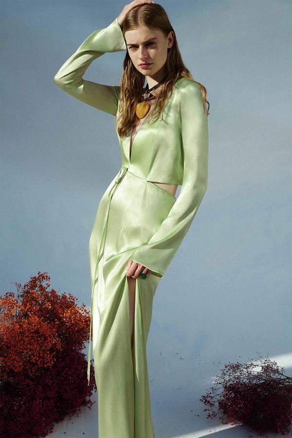 Galvan London Long Sleeves and Pluning Neckline Green Maxi Satin Dress