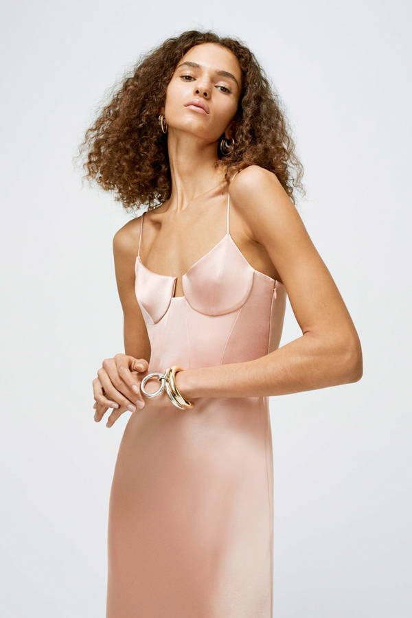 Galvan London Satin Bustier Pink Gown