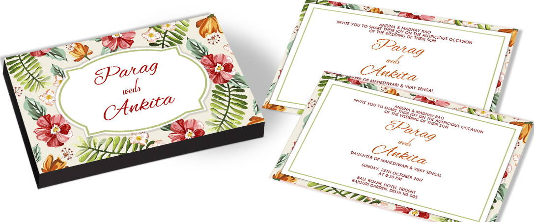 Customised Invitations for Wedding with Floral Theme