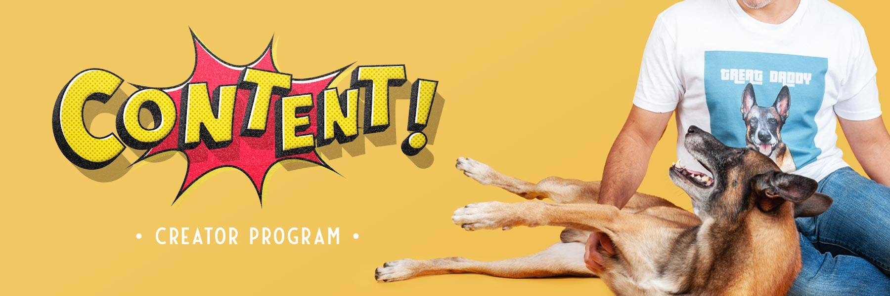 content creator banner - man with dog