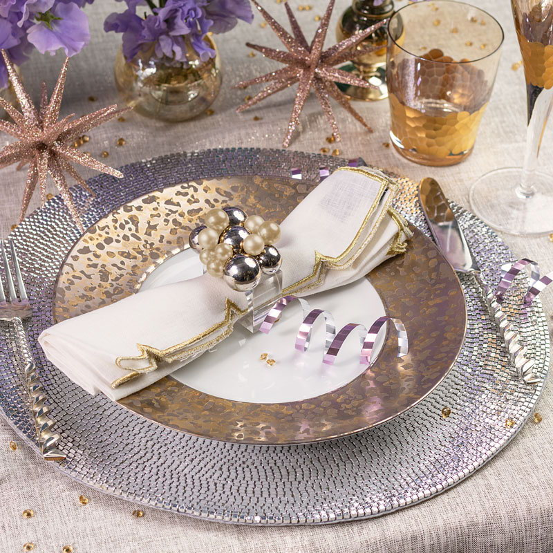 NYE table setting with Patina Placemat