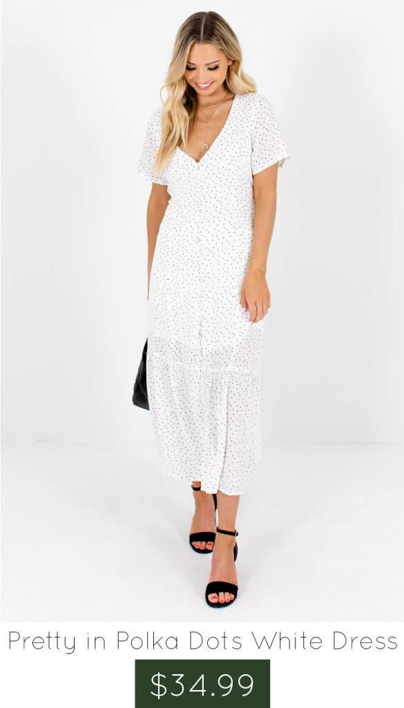 e484d3d0df White Black Polka Dot Button-Up Maxi Dresses Affordable Online Boutique