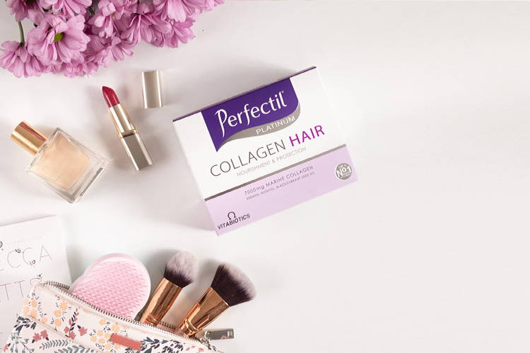 Perfectil Collagen Hair Drink Product Packshot On A White Background Next To Beauty Products