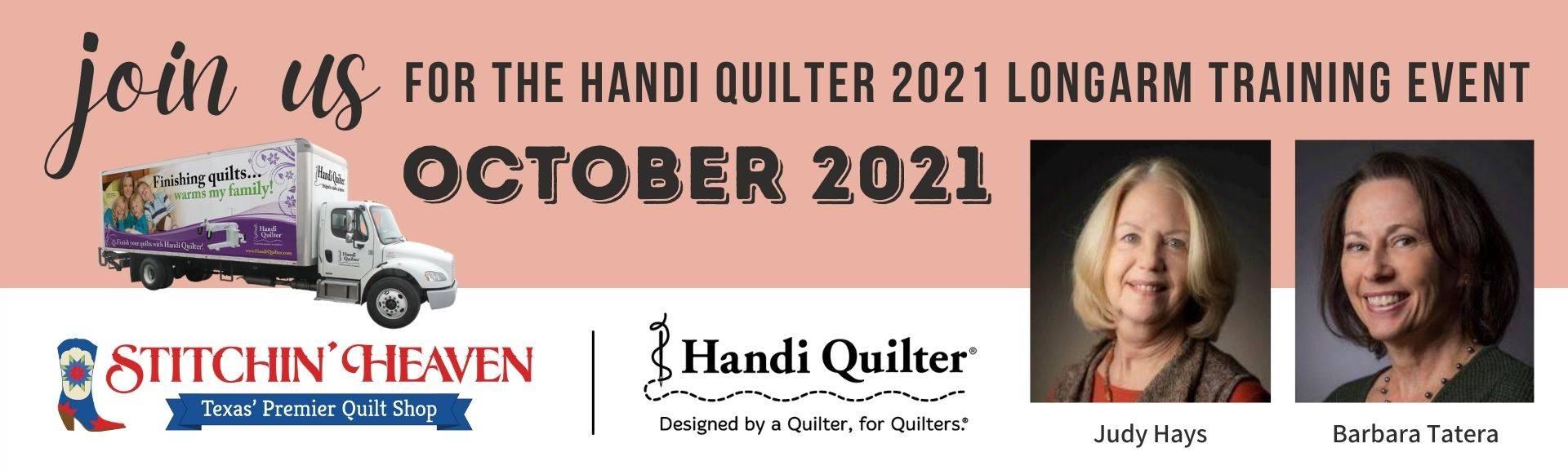 Handi Quilter 2021 Longarm Training Event at Stitchin' Heaven, Quitman, TX. - October 2021