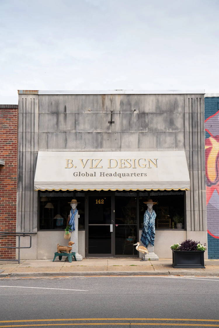Exterior of B. Viz Design Global Headquarters near Lake Bruin in downtown St. Joseph, LA. The historic no-stoplight town is buzzing with charm and natural beauty.