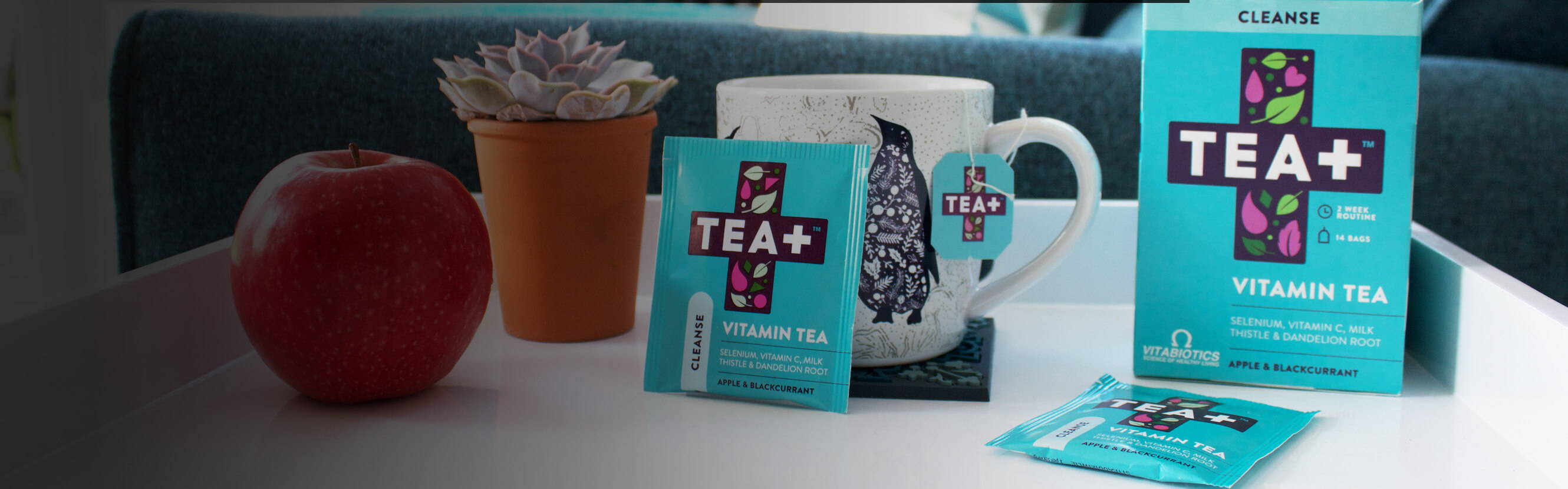 TEA+ Cleanse Vitamin Tea is a delicious way to achieve your daily wellness goals with a blend of green tea, herbs, fruit and Vitamin C and Selenium which contribute to the protection of cells from oxidative stress.