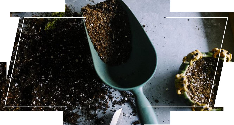 Soil on a gardening shovel