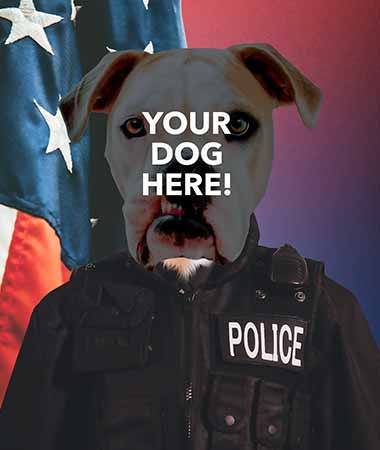 Pop your pups pop icon example on pop culture police man background slide 6