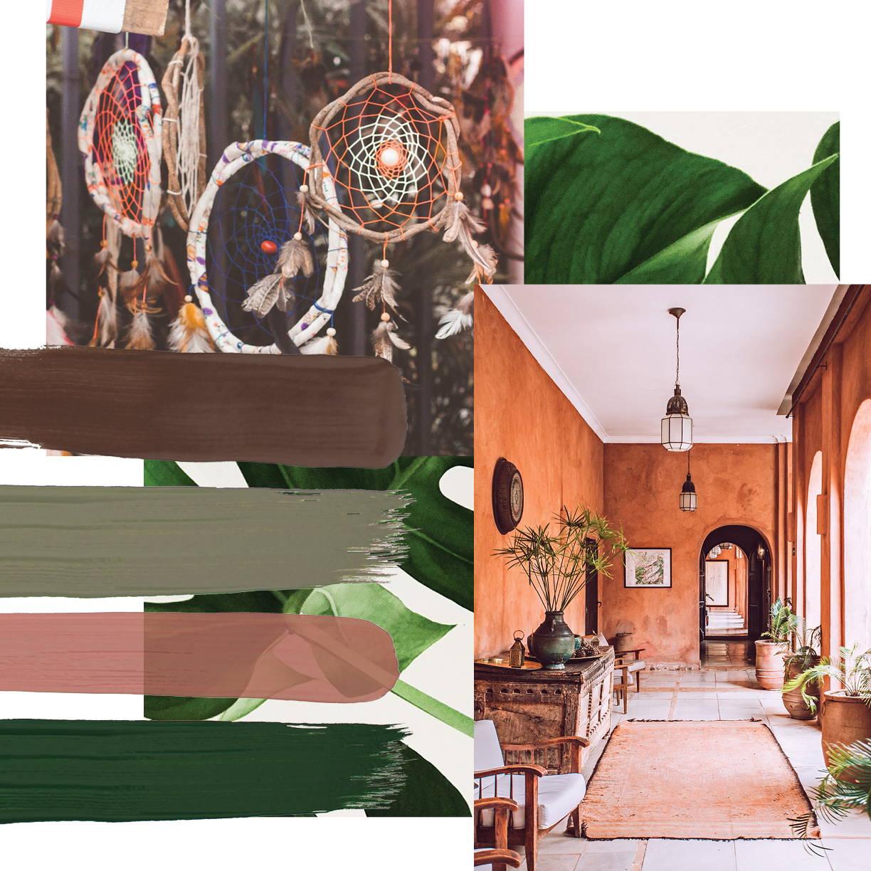 Bohemian interior design style moodboard