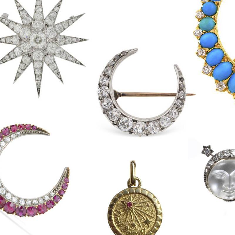 Vintage sun moon and stars charms