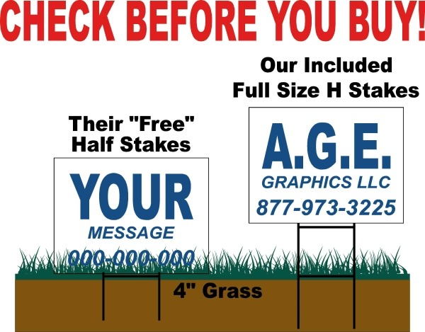 Our Yard Sign Stakes Vs Competition - A.G.E. Graphics