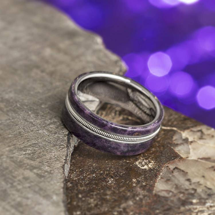 Purple Wood Ring, Guitar String Ring