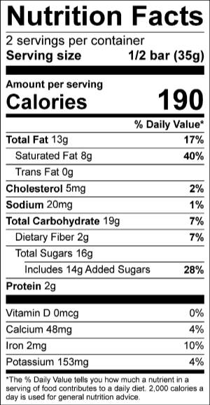 Boldly Go Truffle Bar Nutrition Facts