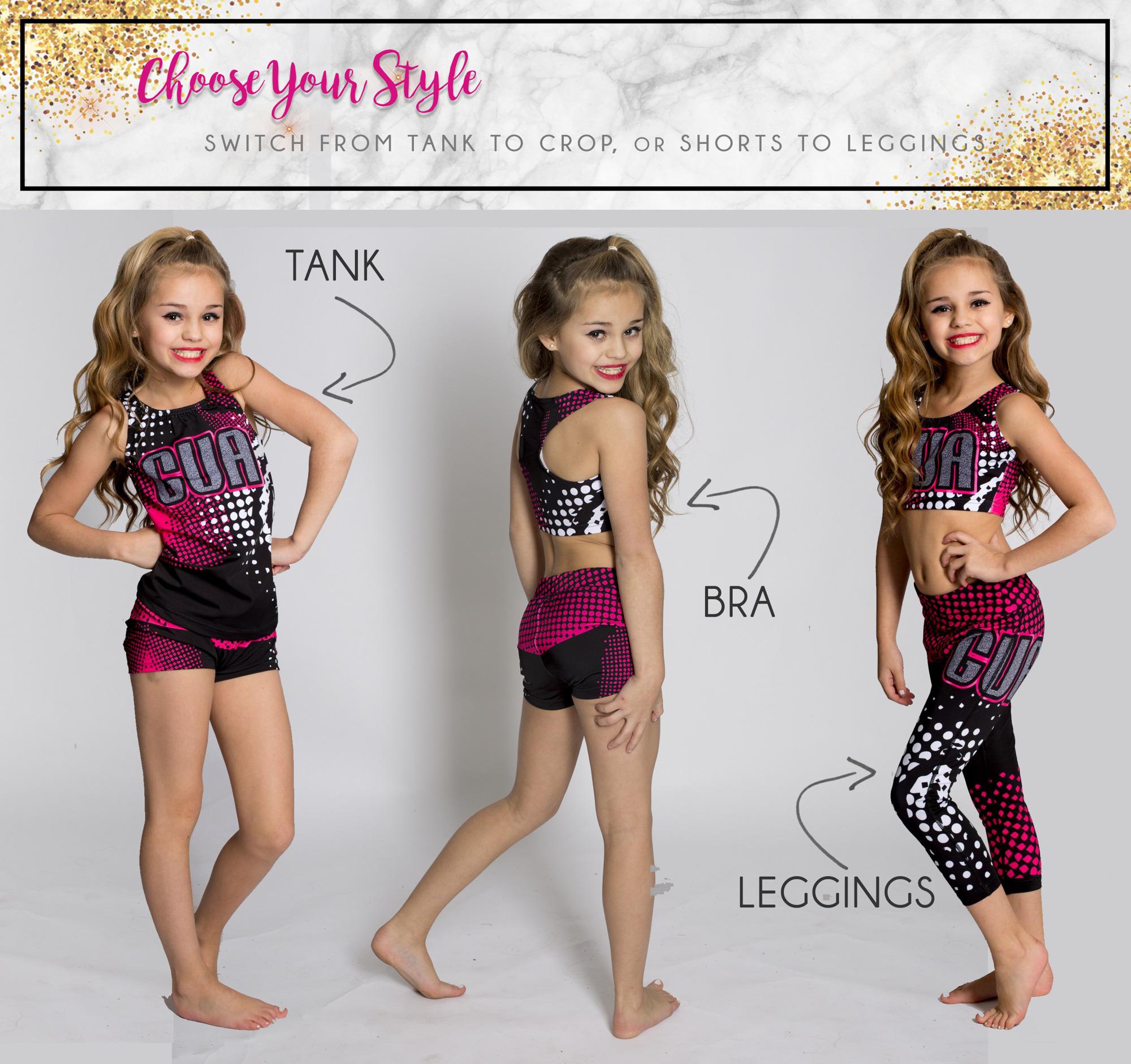glitterstarz dye sub practicewear tank sports bra leggings pink shimmer cheerleading