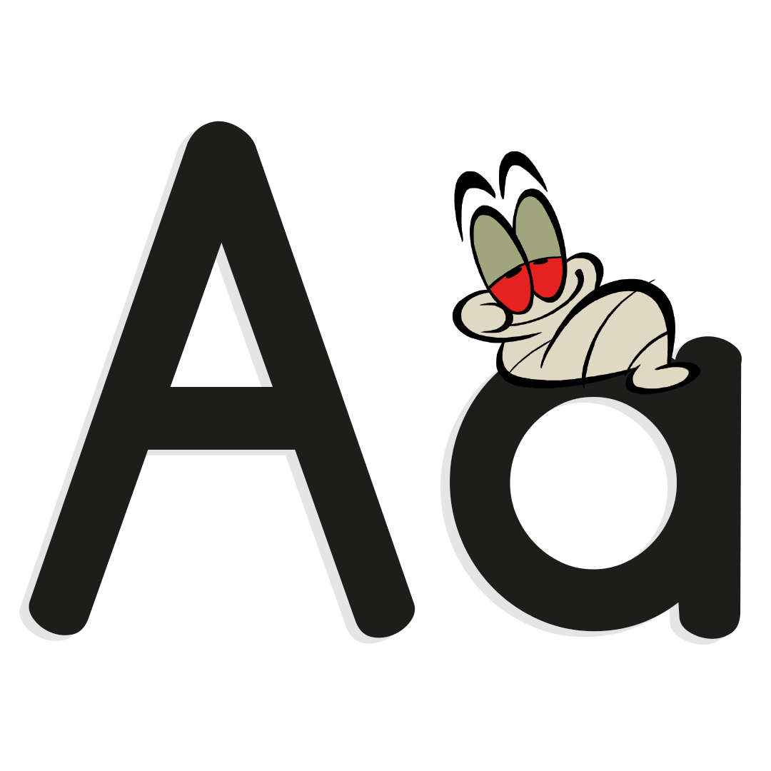 The letter A with an illustrated worm