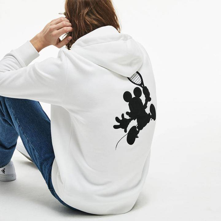 Lacoste Disney Mickey Hooded Fleece Men's White