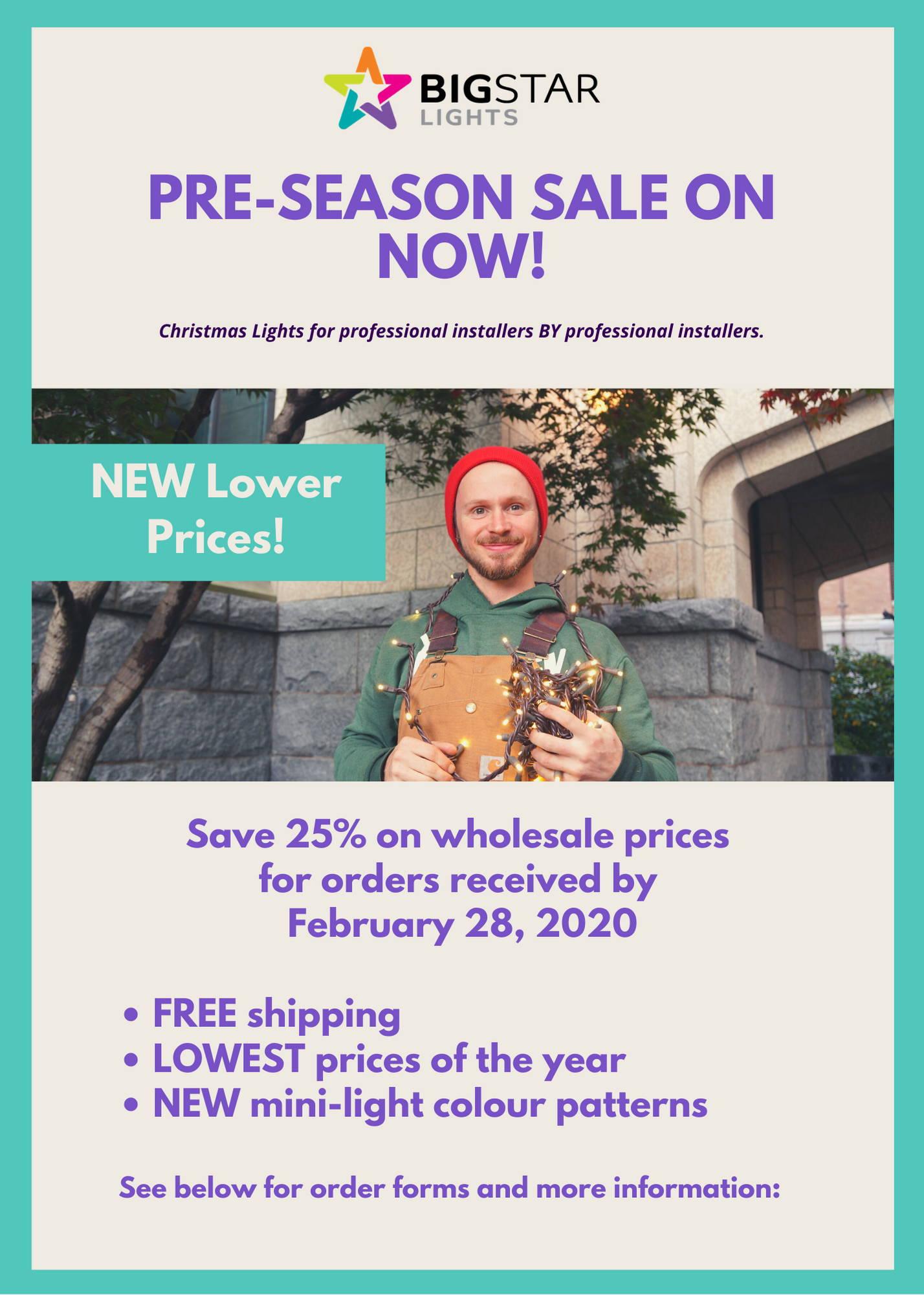 Will Christmas 2020 Sales Be Lower ANNUAL PRE SEASON SALE   Big Star Lights USA