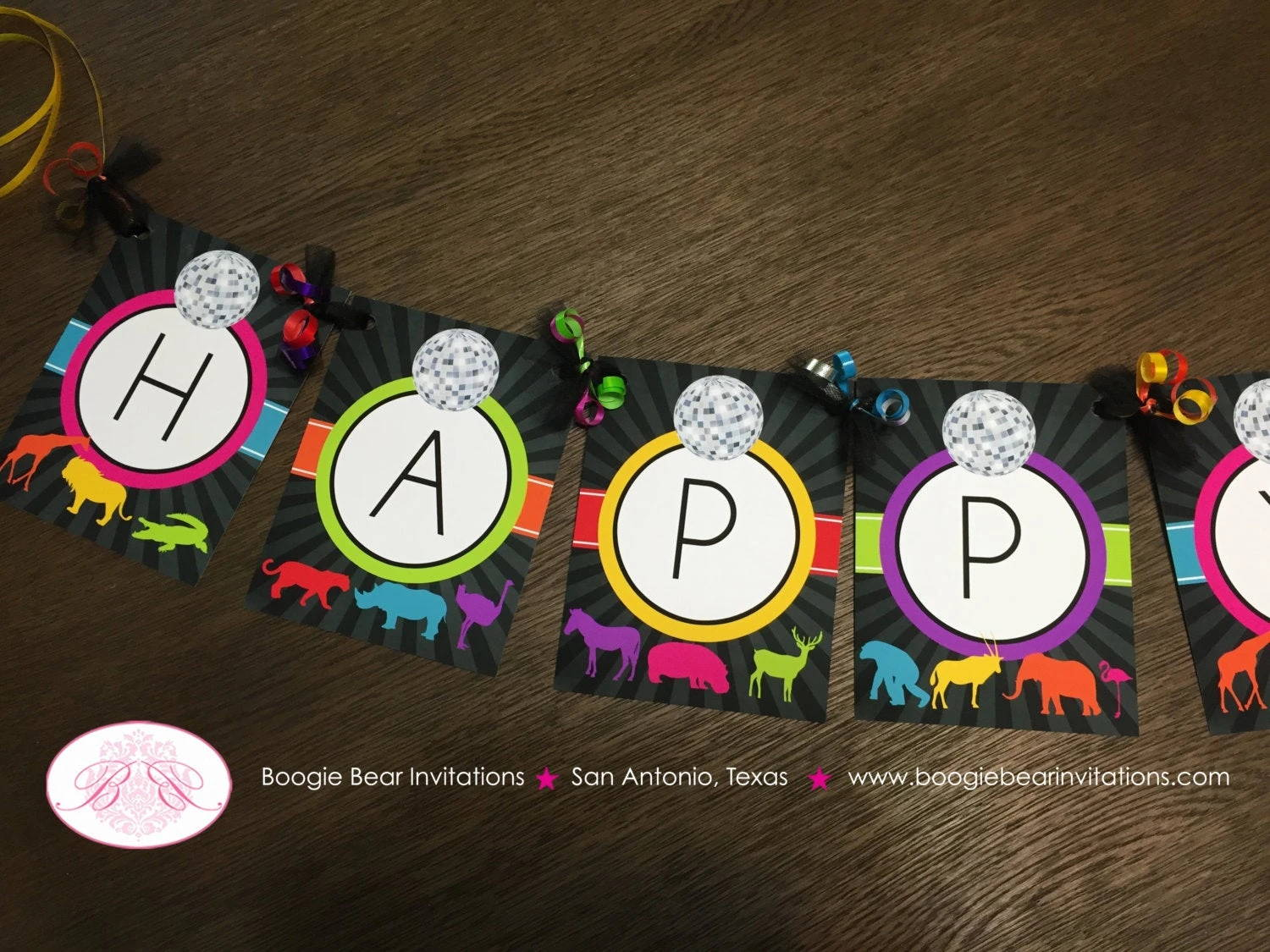 Wild Animal Disco Happy Birthday Banner Donna Theme