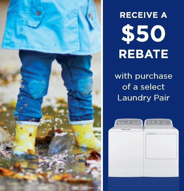 Receive a $50  Rebate with purhase of a select laundry pair