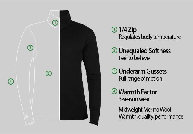 Mens 1/4 Zip Merino Wool Base Layer Top - Free Shipping - Woolx