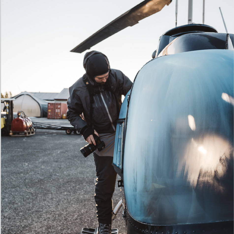 Jeremy Koreski helicopter Cold Growth photoshoot | Rumpl