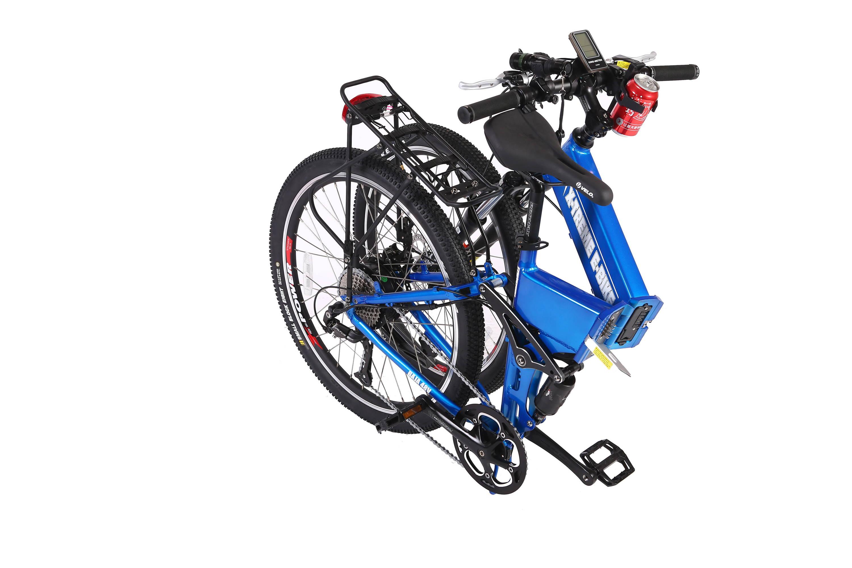 Baja electric bike in blue folded