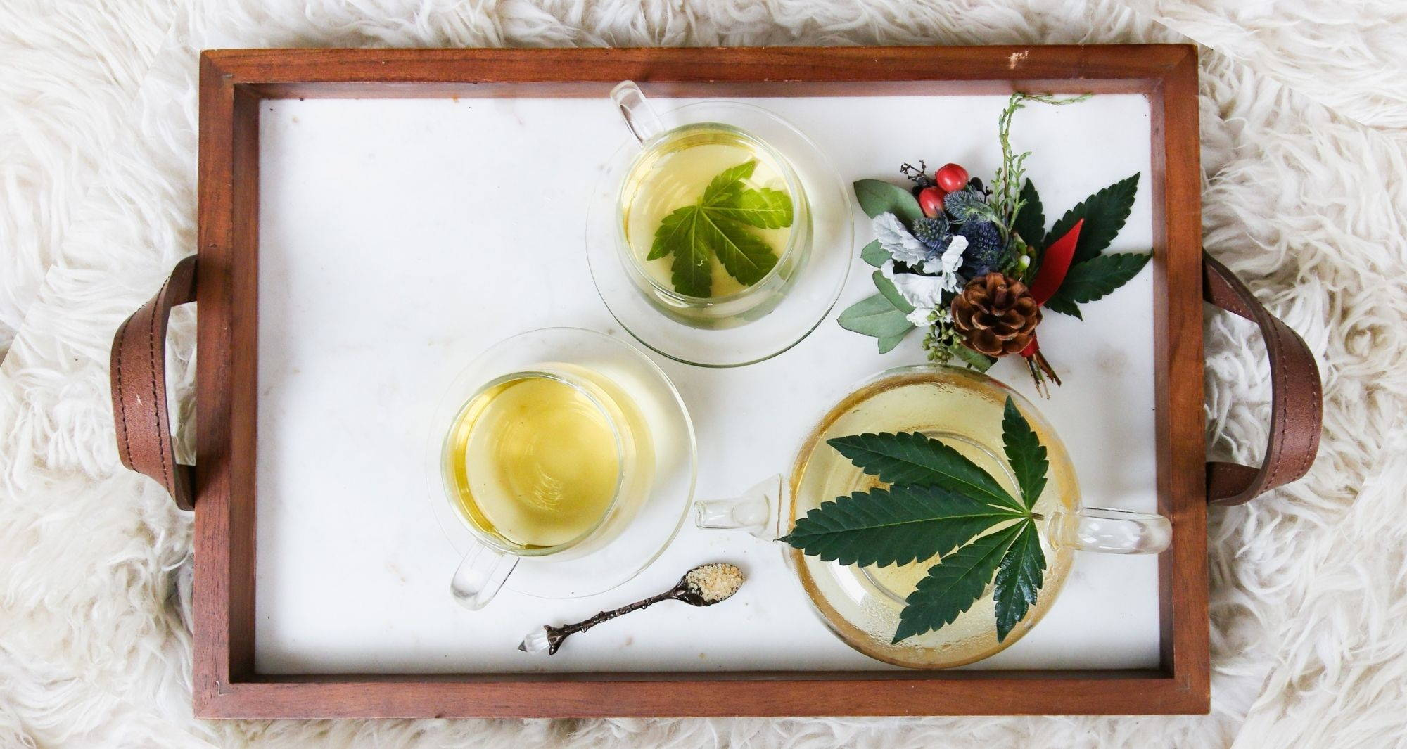 A white and brown tray filled with cups of hemp tea sits on a fluffy white surface.