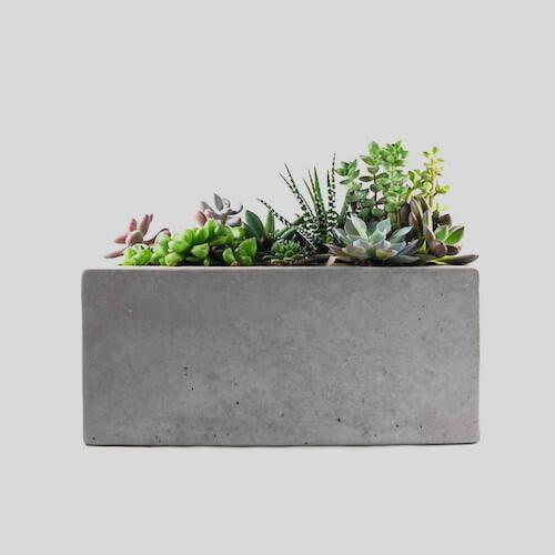 Rough Fusion Rectangular Concrete Planter