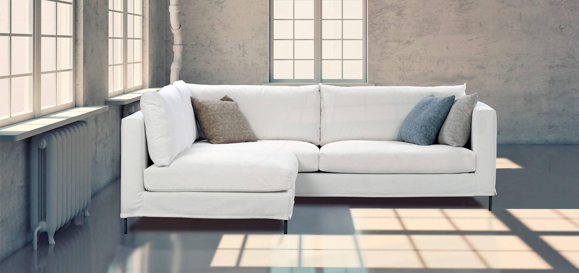 Mode-kulmasohva, valkoinen kangas. Ht Collection