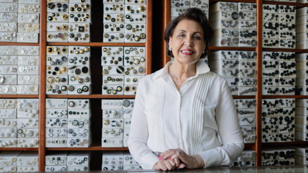 Faye Moattar, a button specialist that works with Bianca Balti Collection