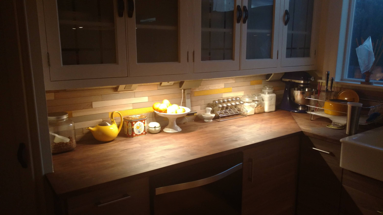Legrand adorne under cabinet lighting example lifestyle kitchen cabinet lighting
