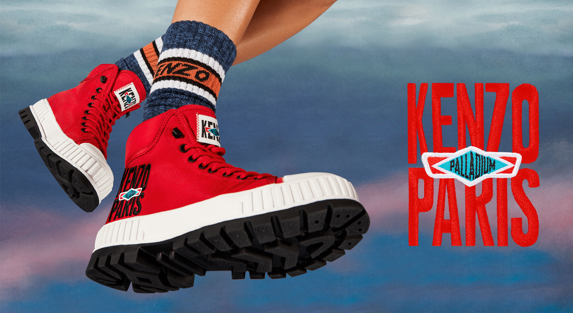 Image of red Kenzo Palladium collaboration shoes - Pallashock Hi