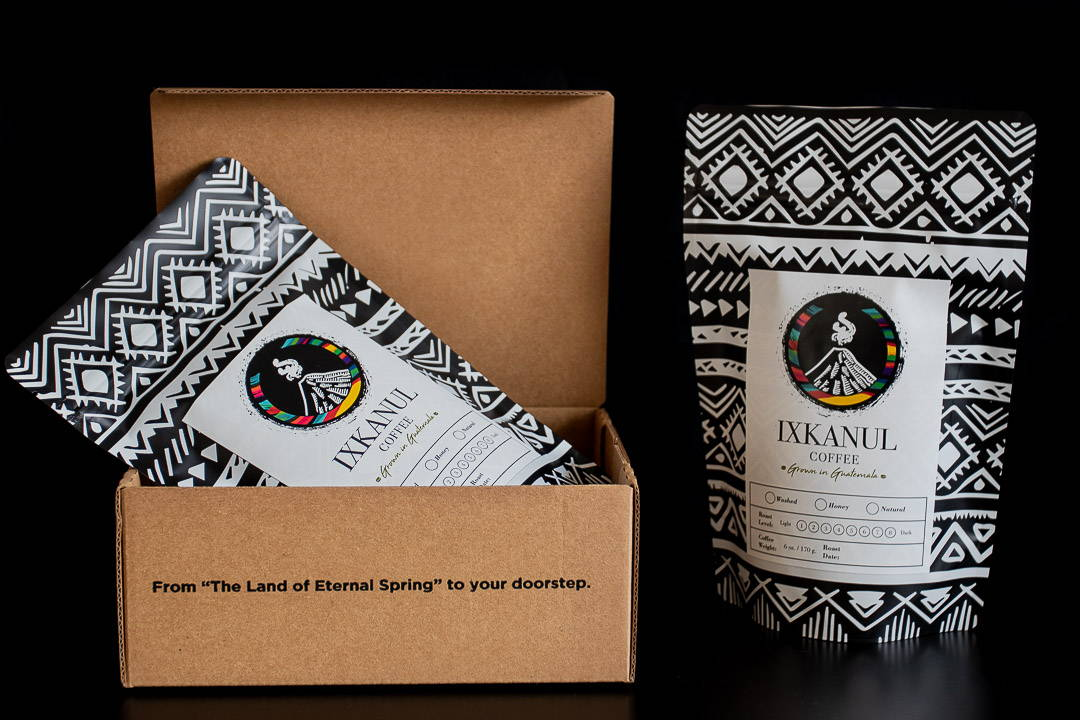 The contents of our subscription box. Two bags of freshly roasted coffee.