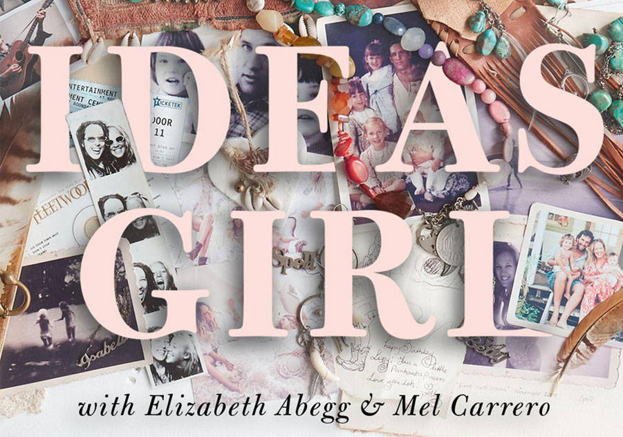 Spell 'Ideas Girl' Podcast brand image featuring a collection of old photos and jewellery