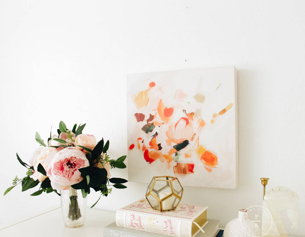Abstract art for entryway. Pink and orange abstract art - Pottery Barn.