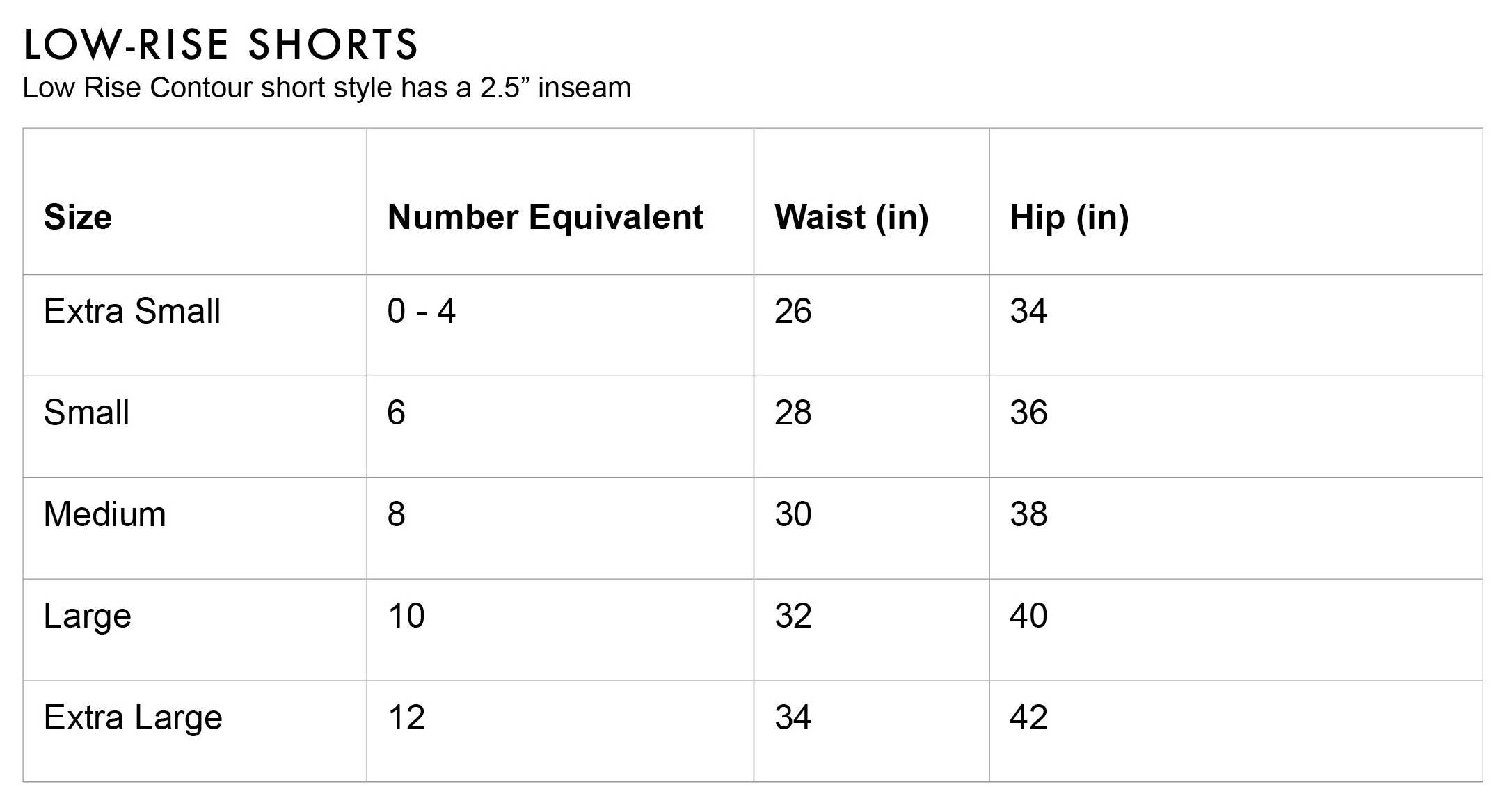 FLEO Low Rise Shorts Size Chart