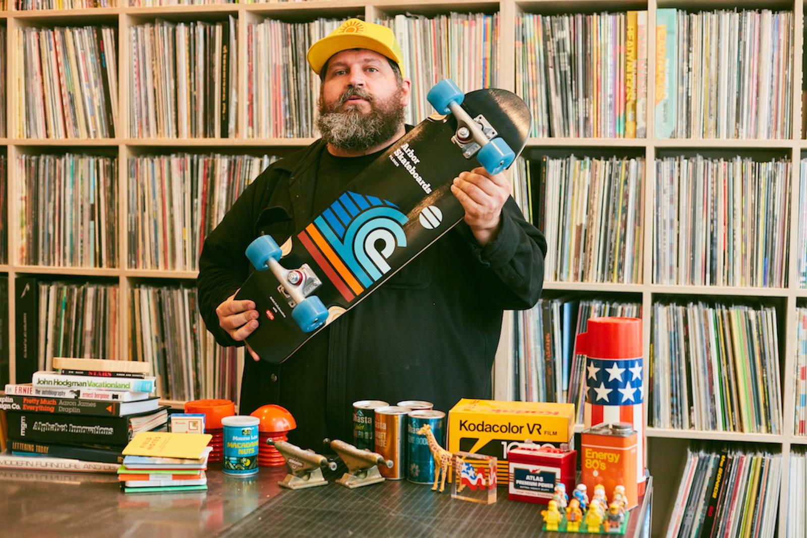 Aaron Draplin with Pilsner Artist Collection in his Studio