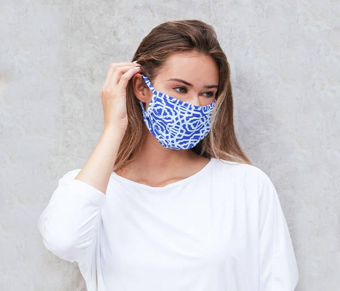 Woman wearing Cabana Classic Print Masks (Style # 913-SS20)