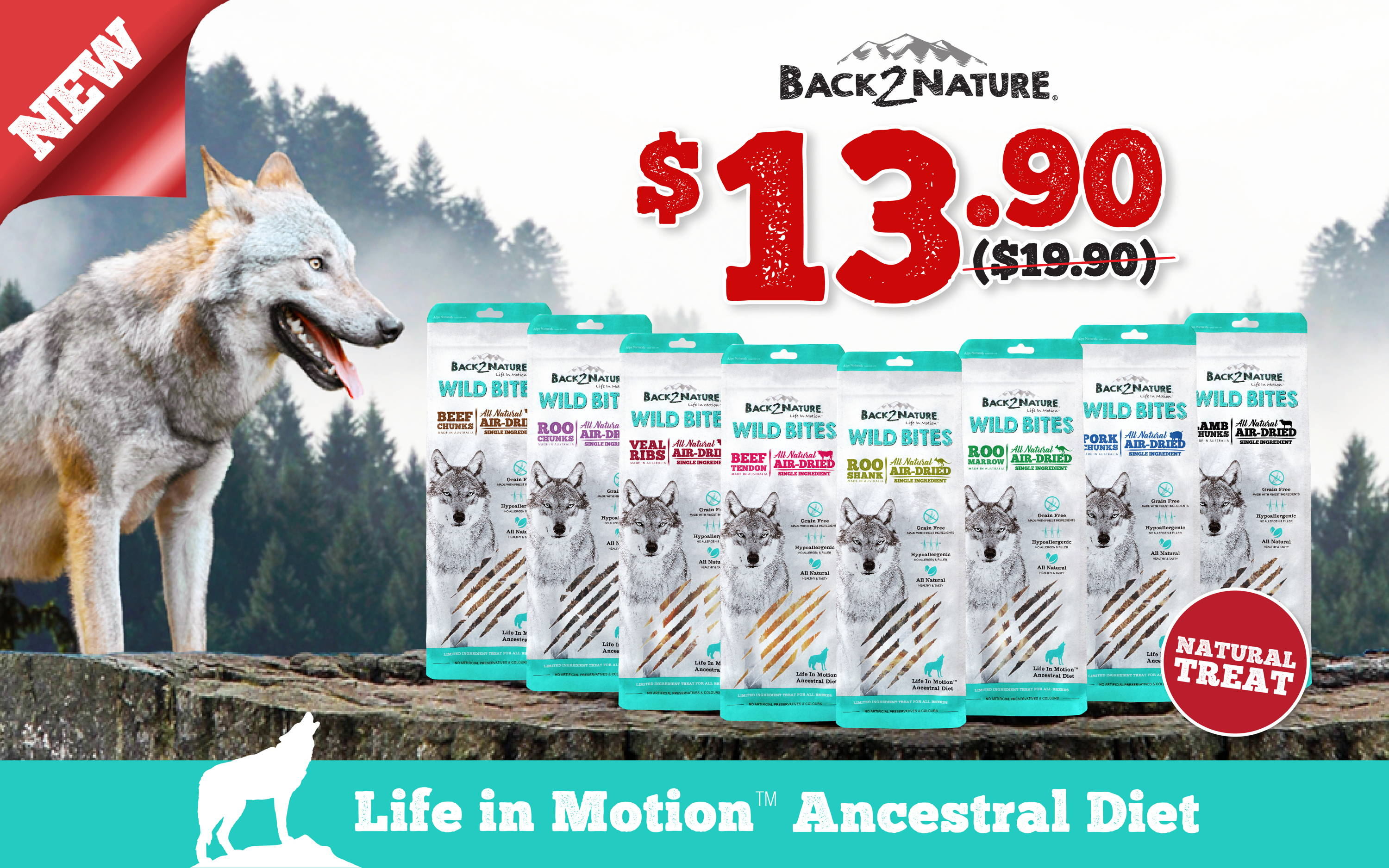 back2nature wild bites air-dried dog treats promotion banner